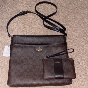 NWT Brown Coach Crossbody and Wristlet